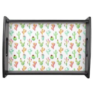 Kaktus-PastellAquarell-Muster Tablett