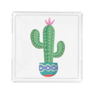 Kaktus-Pflanzen-Blumen-Entwurfskunst Acryl Tablett