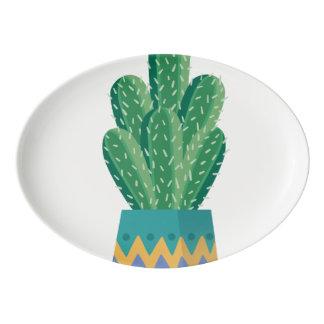 Kaktus-Pflanzen-Blumen-Entwurfskunst Porzellan Servierplatte