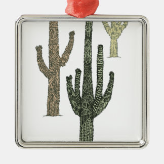 Kaktus Quadratisches Silberfarbenes Ornament