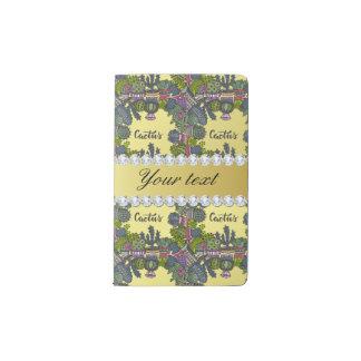 Kaktus-Rahmen-Muster-Imitat-Goldfolie Bling Moleskine Taschennotizbuch