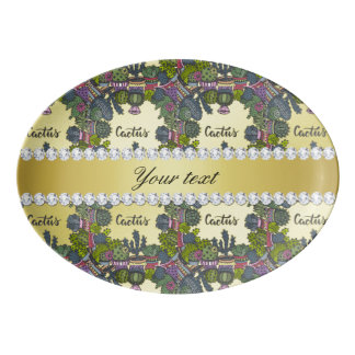 Kaktus-Rahmen-Muster-Imitat-Goldfolie Bling Porzellan Servierplatte