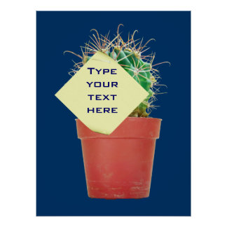 Kaktus-Slogan-Schablonen-Plakat