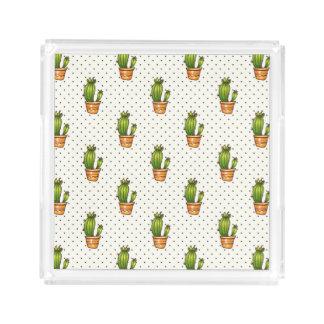 Kaktus u. saftiges Polk-Punkt-Muster Acryl Tablett