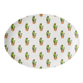 Kaktus u. saftiges Polk-Punkt-Muster Porzellan Servierplatte