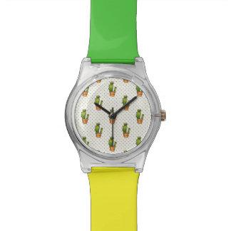 Kaktus u. saftiges Polk-Punkt-Muster Uhr