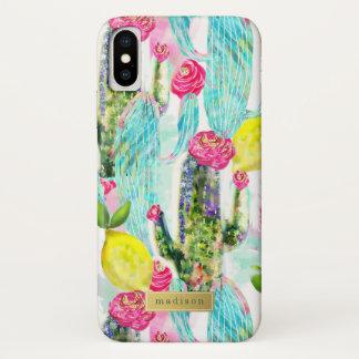 Kaktus-u. Zitronen-Muster-Girly personalisiertes iPhone X Hülle