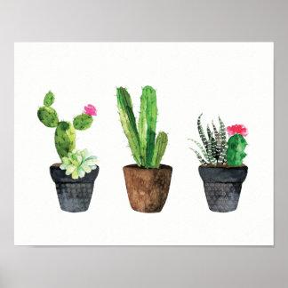 Kaktus und saftiges Trio zwei Poster