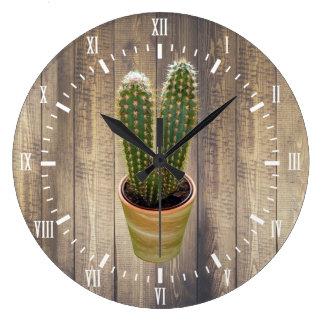 Kaktus-weiße Ziffern-moderne skandinavische Art Große Wanduhr