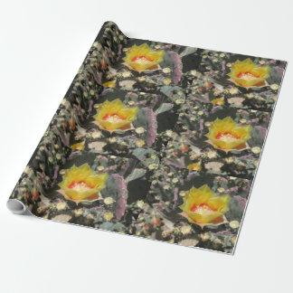Kaktusfeige schwarzes Spined Geschenkpapier