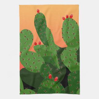 Kaktusfeige-Wüsten-Sonnenuntergang-Geschirrtuch Handtuch