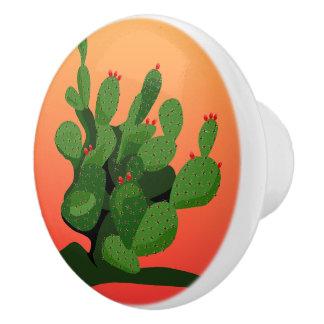 Kaktusfeige-Wüsten-Sonnenuntergang-Türknauf Keramikknauf