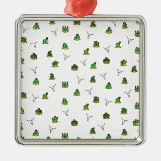 Kaktusmuster Silbernes Ornament