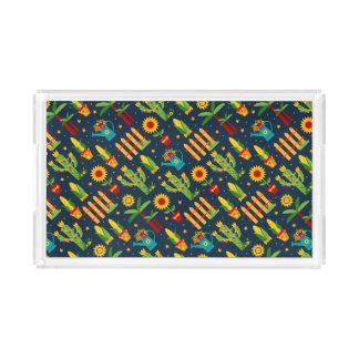 Kaktussonnenblume auf blauem Festa Junina Muster Acryl Tablett
