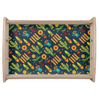 Kaktussonnenblume auf blauem Festa Junina Muster Tablett