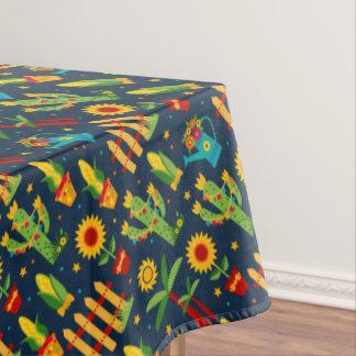 Kaktussonnenblume auf blauem Festa Junina Muster Tischdecke