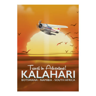 Kalahari-Wüsten-Abenteuerreiseplakat Poster