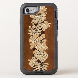 Kalaheo hawaiisches Hibiskustapa-Imitat hölzern OtterBox Defender iPhone 8/7 Hülle