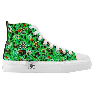 Kaleidoskop-Block-Druck im Dschungel-Grün Hoch-geschnittene Sneaker