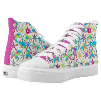 Kaleidoskop-Block-Druck im vollen Regenbogen-Modus Hoch-geschnittene Sneaker