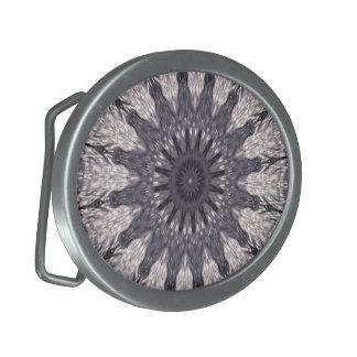 Kaleidoskop-Blumen-Schatten von Blauem und von Ovale Gürtelschnallen