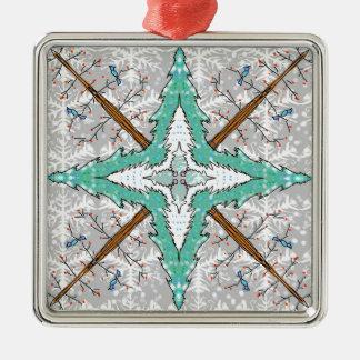 Kaleidoskop der Winterbäume Quadratisches Silberfarbenes Ornament