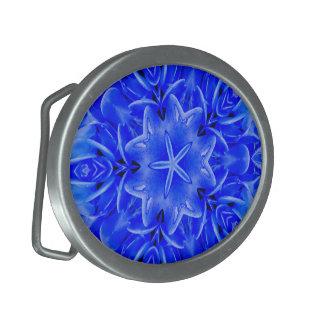 Kaleidoskop-Entwurfs-blaue lila Blumenkunst Ovale Gürtelschnallen