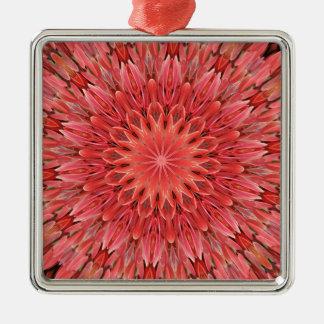 Kaleidoskop-Entwurfs-Blumenrot Silbernes Ornament