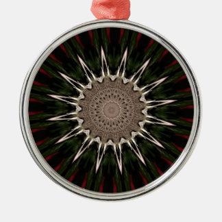 Kaleidoskop-Entwurfs-dunkelgrünes rotbraunes Silbernes Ornament