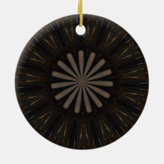 Kaleidoskop-Entwurfs-dunkles Brown-rustikales Keramik Ornament