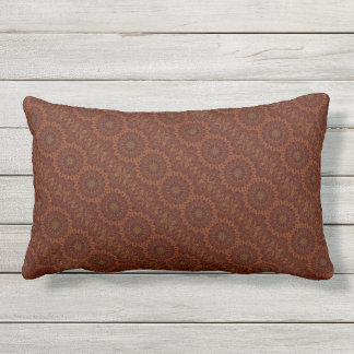 Kaleidoskop-Entwurfs-dunkles Brownblumenmuster Kissen Für Draußen