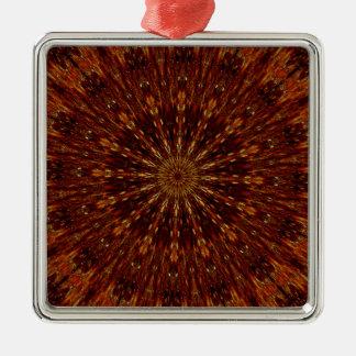 Kaleidoskop-Entwurfs-dunkles Brownblumenmuster Silbernes Ornament