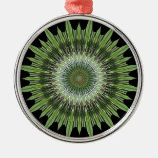 Kaleidoskop-Entwurfs-Grün-Schwarzes Silbernes Ornament