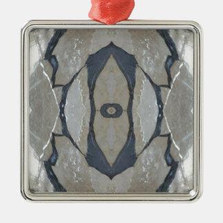Kaleidoskop-Entwurfs-Licht und dunkelgraues Muster Quadratisches Silberfarbenes Ornament