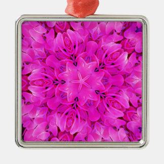 Kaleidoskop-Entwurfs-Pink-Blumenkunst Silbernes Ornament