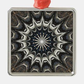 Kaleidoskop-Entwurfs-Schwarz-graue blaue weiße Silbernes Ornament