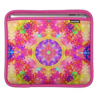 Kaleidoskop-Fraktal-Rosagelb iPad Sleeve