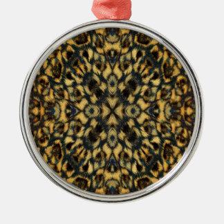 Kaleidoskop-Leopard-Pelz-Muster Silbernes Ornament