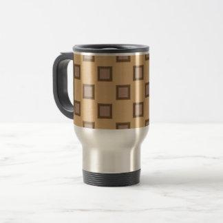 Kaleidoskop-quadratisches modernes Muster Brown Reisebecher