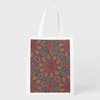 Kaleidoskop-Yoga-Muster Wiederverwendbare Einkaufstasche