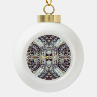 Kaleidoskopische graue Goldmedaillon steampunk Keramik Kugel-Ornament