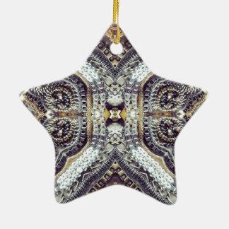 Kaleidoskopische graue Goldmedaillon steampunk Keramik Ornament
