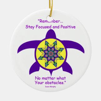 Kaleidoskopische Mandala-Schildkröte Ornament.4 Keramik Ornament