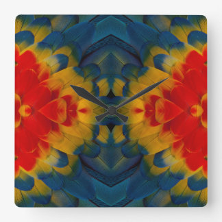 KaleidoskopScharlachrot Macaw-Entwurf Quadratische Wanduhr