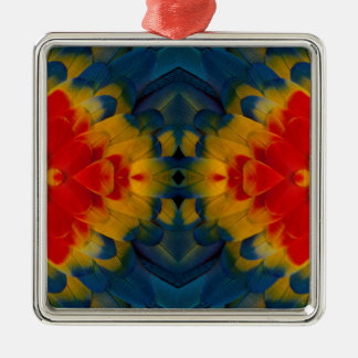 KaleidoskopScharlachrot Macaw-Entwurf Silbernes Ornament