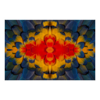 KaleidoskopScharlachrot Macaw-Feder Poster