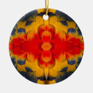 KaleidoskopScharlachrot Macaw-Feder Rundes Keramik Ornament