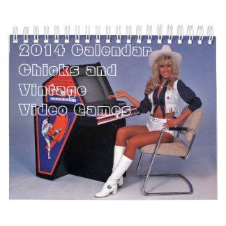 Kalender 2014:  Küken und Vintage Arcade-Spiele