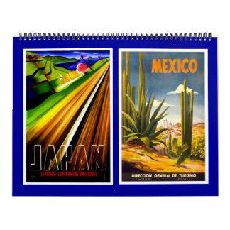 Kalender-Vintage Reise-Plakate Abreißkalender