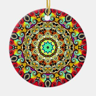 Kaliedoscope Verzierung mehrfarbig Rundes Keramik Ornament